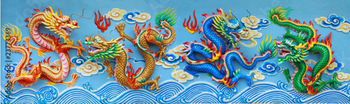 four color chinese dragon