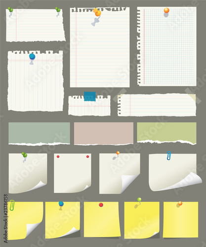 Fotografie, Obraz  Vector paper and post-it collection