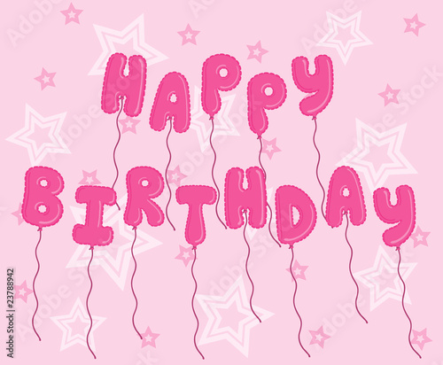 Pink Balloons Spelling Happy Birthday On A Starry Background