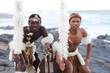 canvas print picture - zulu dancer men on beach