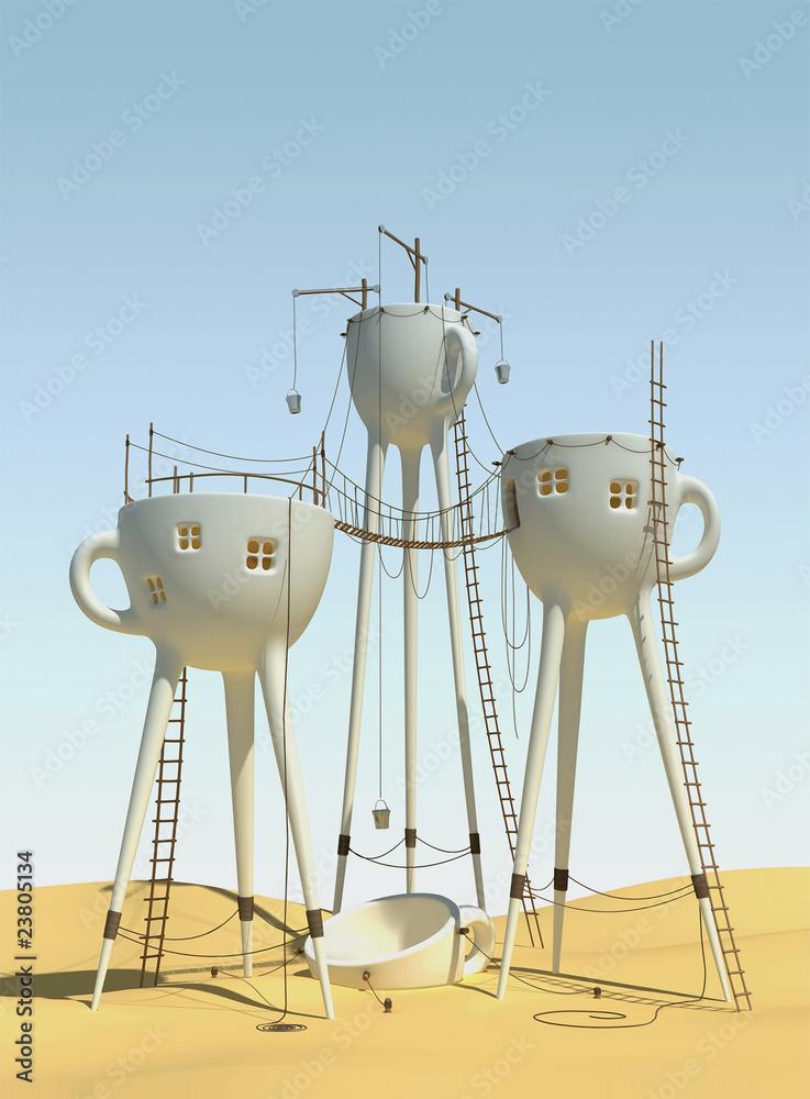 Surrealistic tea cups - obrazy, fototapety, plakaty