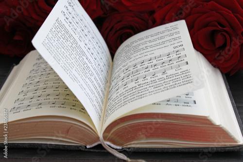 Aufgeschlagenes Gesangbuch Canvas Print