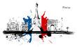 Paris monuments drapeau