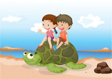 Girl And Boy Sitting On Tortoise