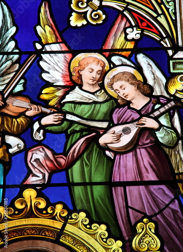 Poster Stained Les anges musiciens