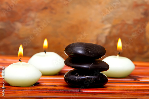 Fototapety, obrazy: Spa stones and candles on bamboo