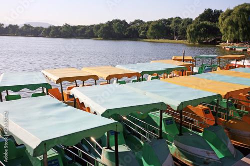 Fototapeta boat at yuanmingyuan in Beijing obraz na płótnie