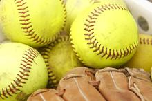 Pile Of Softballs And Baseball...
