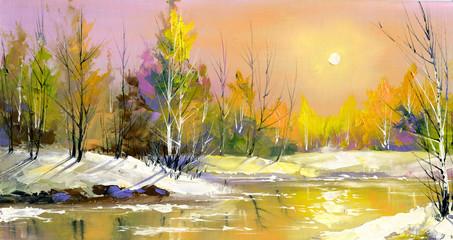 Fototapeta Do jadalni The wood river on a decline