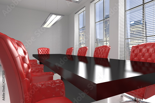 Sala riunioni con sedie rosse buy this stock illustration and