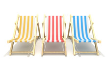 3d Colorful Wooden Deck Chairs...