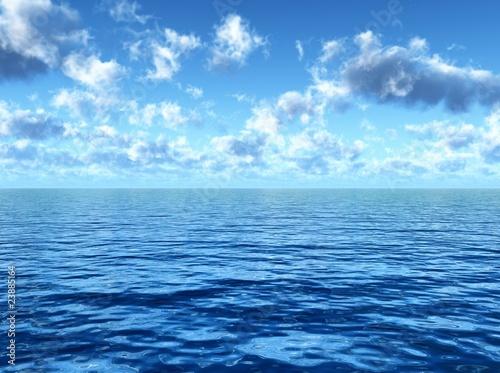 In de dag Groene koraal cloudy blue sky above a blue surface of the sea