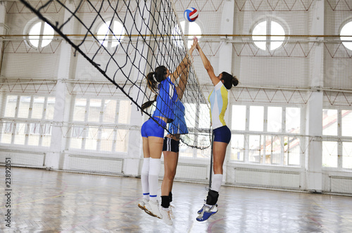 girls playing volleyball indoor game - 23892351
