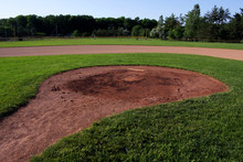 A Wide Angle Shot Of The Pitchers Mound At A Baseball Field.  The Shot Was Created Via HDR. (multiple Exposures Combined).