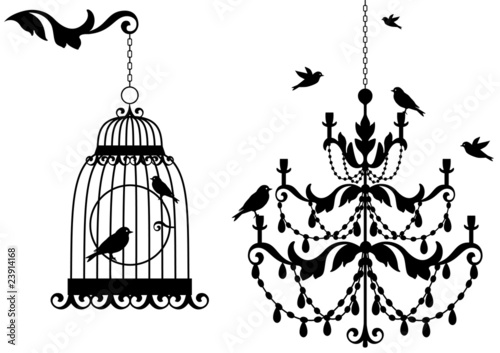 Poster Birds in cages antique birdcage and chandelier with birds, vector