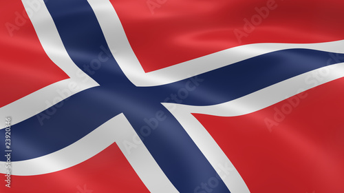 Norwegian flag in the wind Wallpaper Mural
