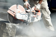 Stone Cutting Work With Saw