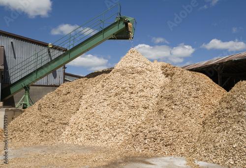 Fényképezés  conveyor poring sawdust