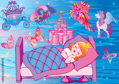 Garden Poster Castle Dream Princess. Fairy-tale.