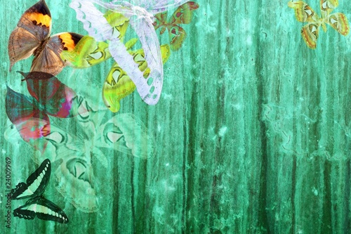 Foto auf Gartenposter Schmetterlinge im Grunge grunge green color background with butterflies