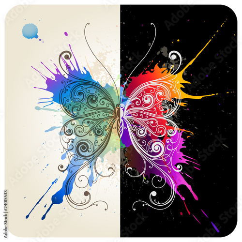 Foto op Canvas Vlinders in Grunge Vector decorative butterfly