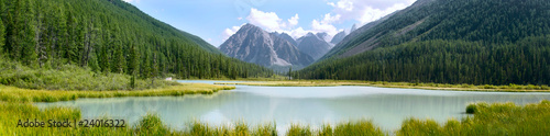Panoramic summer view of mountains and lake in Altay, Russia Wallpaper Mural