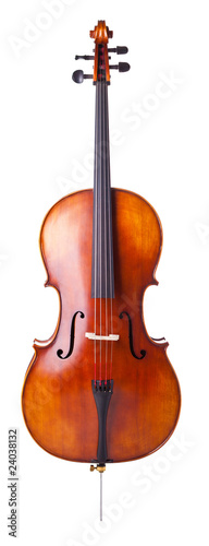 Canvas Beautiful wooden cello isolated on white background