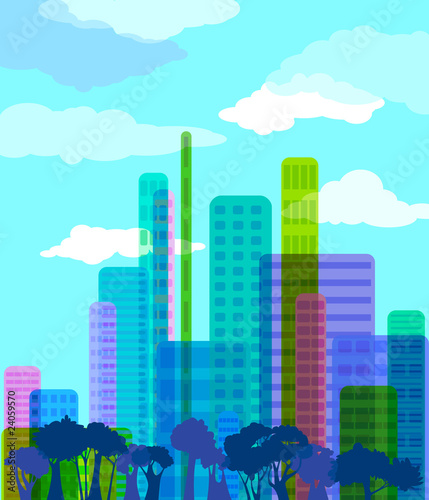 Poster Turquoise Colorful abstract city, vector illustration