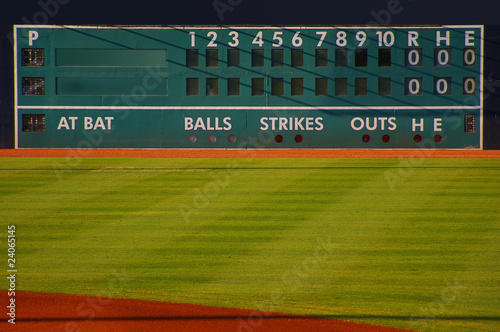 Photo  retro baseball scoreboard with blank Home and Visitor space