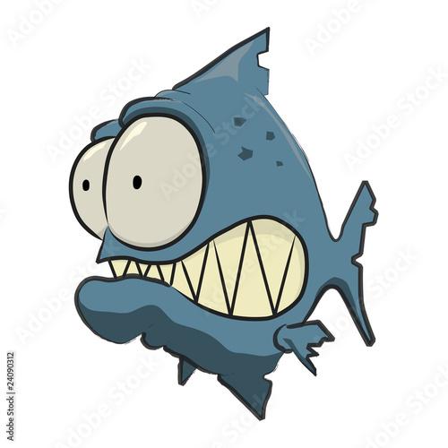 Fotografia, Obraz  Blue Piranha Cartoon