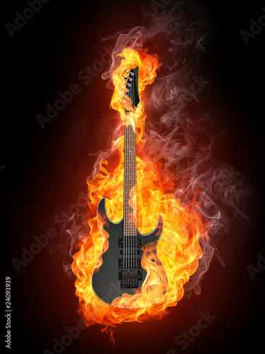 Recess Fitting Flame Electric Guitar in Fire