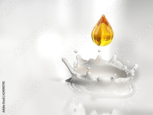Fotografie, Obraz  Una goccia dorata nel latte