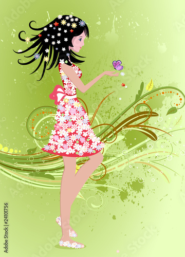 Recess Fitting Floral woman girl on a summer grunge background