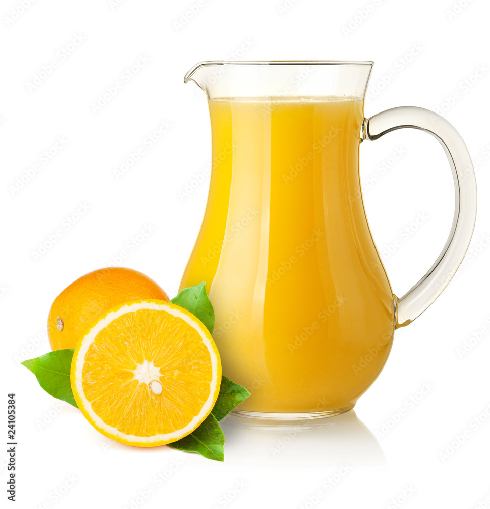 Fototapety, obrazy: Orange juice in pitcher and oranges