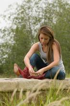Teen Girl In Reflective Mood