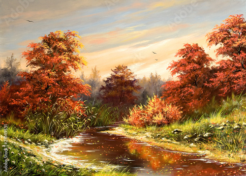 Autumn landscape with the river - 24149531