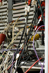 cabling in outside tv media broadcast truck