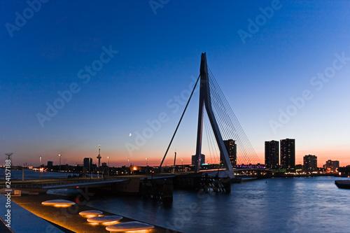 Foto op Canvas Oceanië Erasmus bridge Rotterdam after sunset