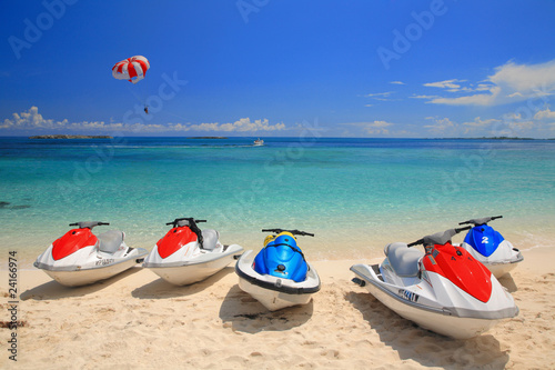 Photo Stands Water Motor sports Jetski on Paradise Island beach