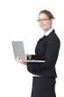 canvas print picture - Frau mit laptop auf dem Arm