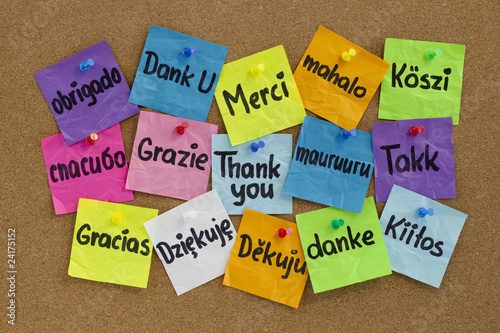 Fotografie, Obraz  Thank you in different languages