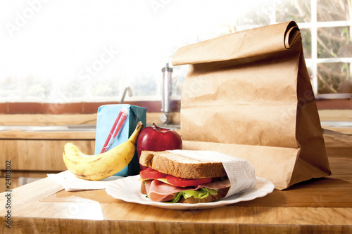 Healthy School Lunch with brown bag Canvas Print
