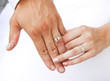 Wedding rings on hands of bride and groom