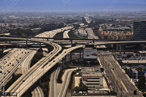aerial with view to streets and huge crosing of freeway