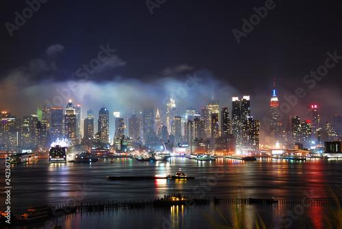 Plakat Nowy Jork Manhattan po pokazie sztucznych ogni