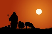 Silhouette Of Shepherd And Sheep