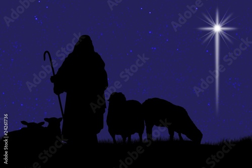 Fotografija Silhouette Of Shepherd And Sheep With A Bright Star In The Sky