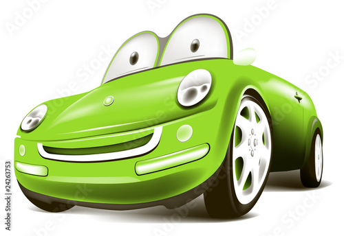 Spoed Foto op Canvas Cartoon cars green car