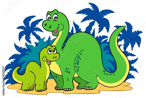 Tuinposter Dinosaurs Cartoon dinosaur family