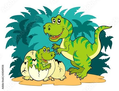 Keuken foto achterwand Dinosaurs Tyrannosaurus rex family
